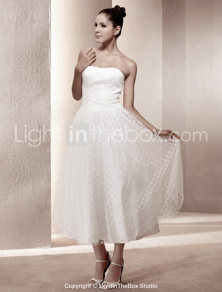 """Cheaper version of Michelle Roth's """"Maya"""" gown.  A-line Strapless Tea-length Satin Wedding Dress - USD $ 149.99"""