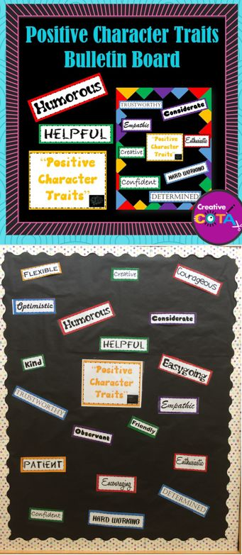 Use these materials to make your own positive character traits bulletin board. Included are 20 positive character traits to compliment or use in character development or discussions. Materials can work with Growth Mindset ™ thinking.