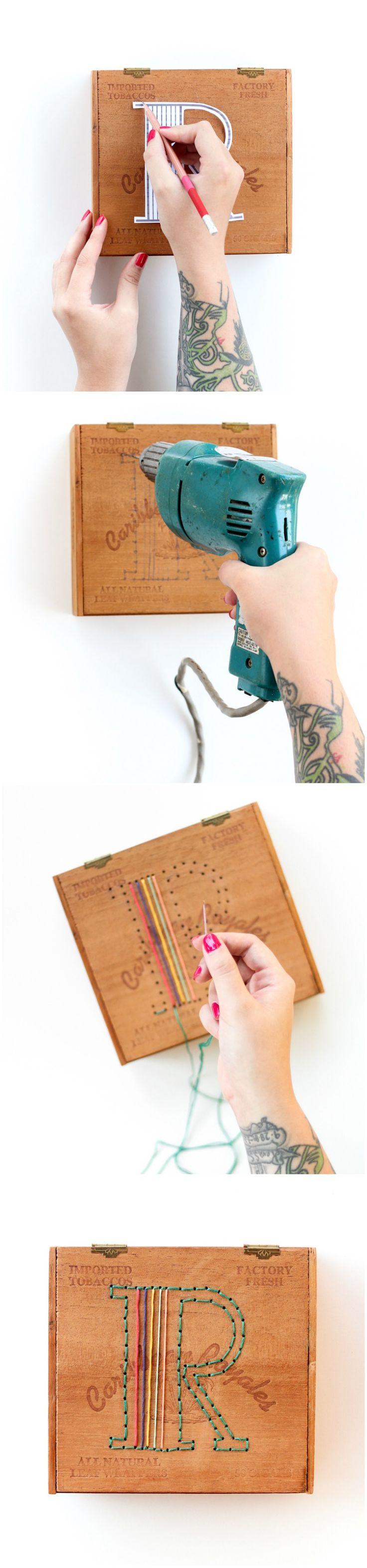 DIY Personnaliser une boîte à cigares en réaliser un motif de lettre en perçant des trous et avec des fils de couleurs Embroidered Cigar Box
