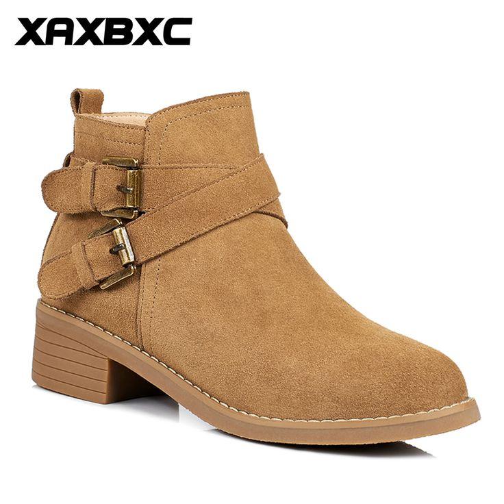 Xaxbxc 2017 Retro British Winter Genuine Leather Short Ankle Boots Martin Warm Women Handmade