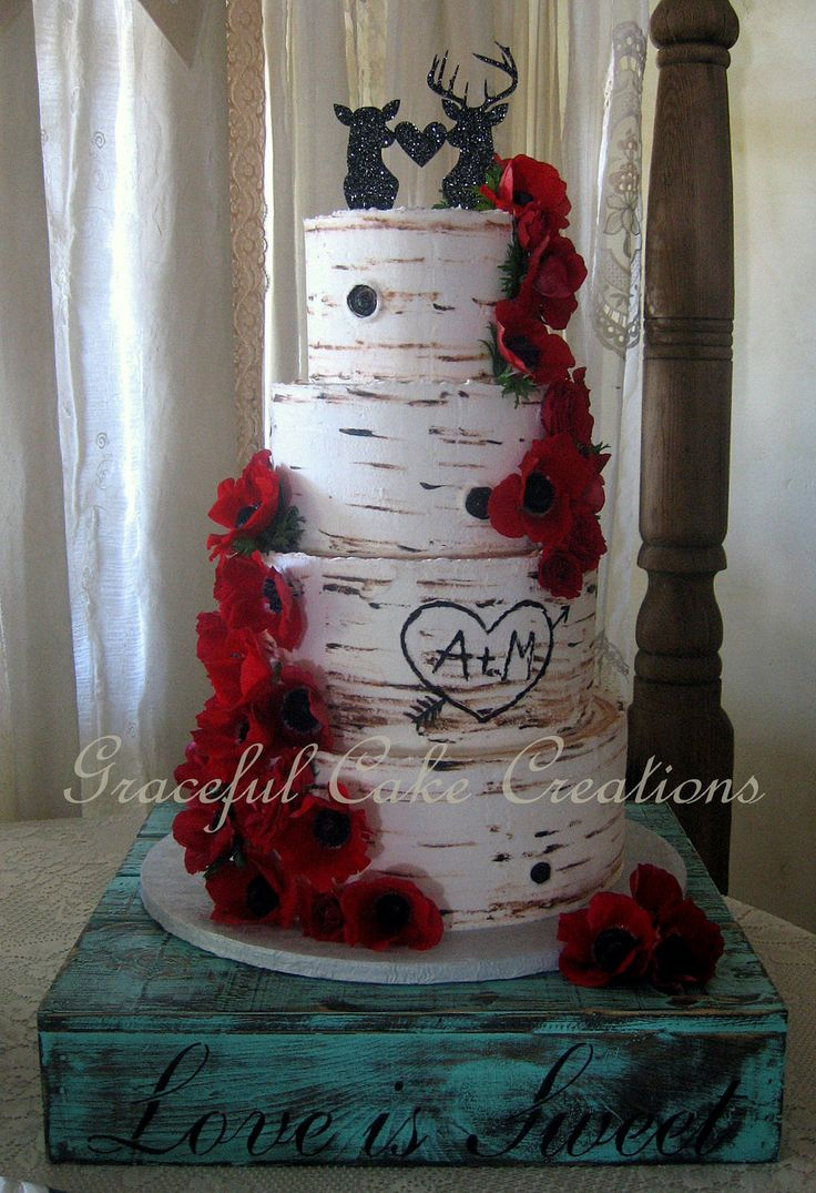 https://flic.kr/p/FHfu5g | Rustic Birch Bark Wedding Cake with Red Anemones and Red Spray Roses