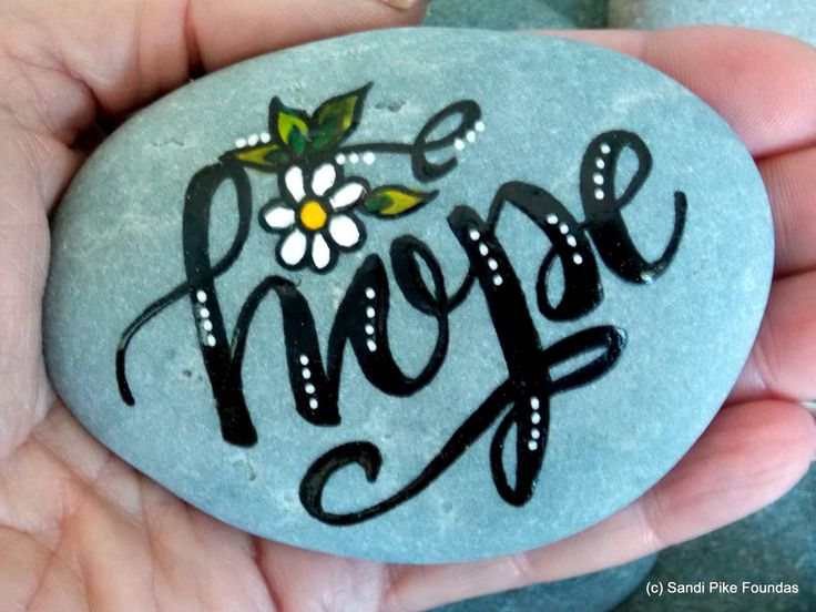 holding on to hope / painted rocks / painted stones / rock art / art on stone / words in stone / get well gifts / hand held art / faith by LoveFromCapeCod on Etsy