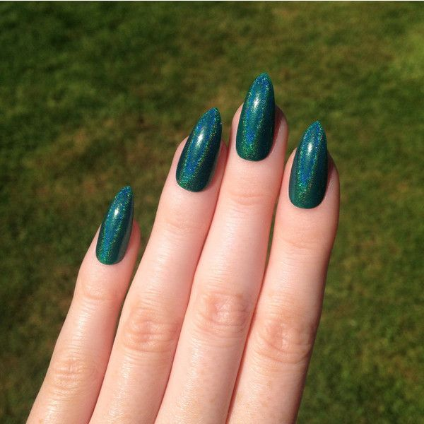 Ultra Holographic Green-Teal Stiletto nails, Nail designs, Nail art,... (£15) ❤ liked on Polyvore featuring beauty products, nail care, nail treatments, nails, esmaltes and nail polish