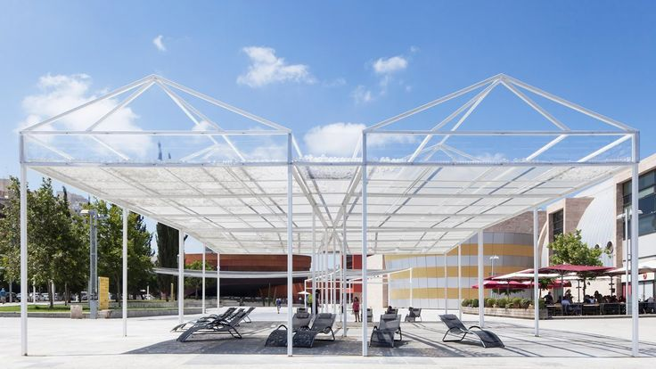 The roof of MODU's Cloud Seeding Pavilion shifts with the wind