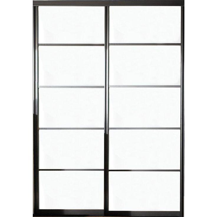 Contractors Wardrobe 48 in. x 96 in. Silhouette 5 Lite Aluminum Bronze Finish Interior Bypass Sliding Door - SI5-4896BZ2R - The Home Depot