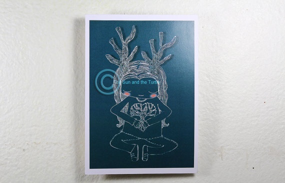 Limited edition blue color Art print Tree by thesunandtheturtle, $2.50