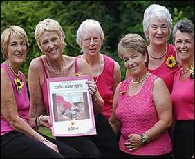 Calendar girls (l-r) Angela Baker, Tricia Stewart, Beryl Bamforth, Ros Fawcett, Lynda Logan and Chris Clancy.