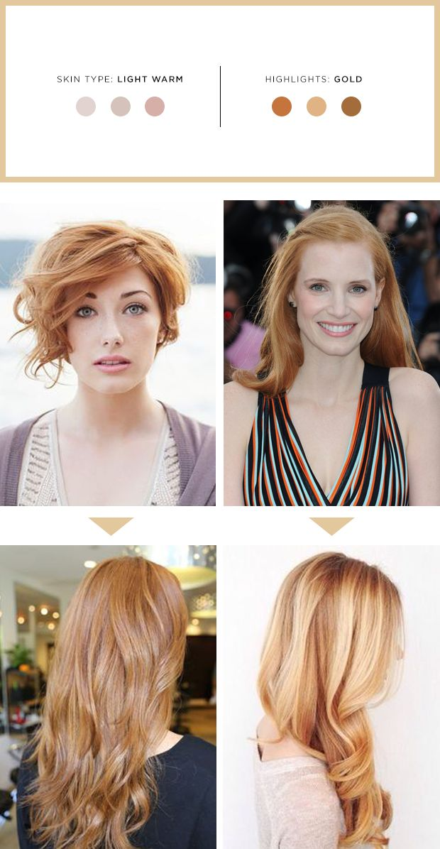 "Characteristics of Light Warm Skin:  Creamy ivory, peachy pink with or without freckles.  May blush and have rosy cheeks easily.  Natural hair color is strawberry blonde or golden blonde with an orange tone from the root.  Eyebrows and eyelashes are very light blonde or orangey in color.  Looks best in orange-red, bright peach, coral, bright purple, blue, light teal, soft yellow, and creamy ivory.  The Best Highlights for You:  ""Gold"