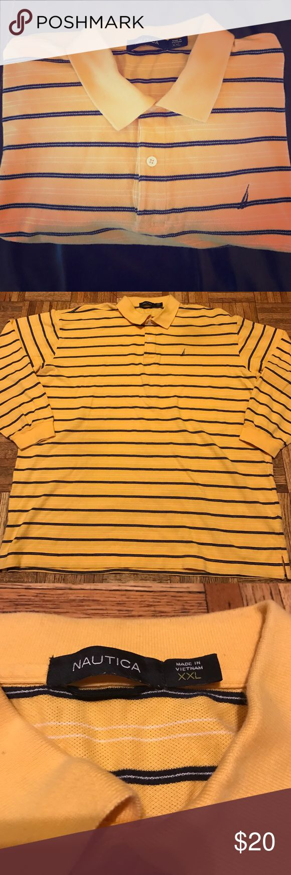 Nautica Men's Stripe Long  Sleeve Polo Shirt XXL Nautica men's long sleeve polo shirt. This is a Striped yellow, blue and white shirt. Size XXL Nautica Shirts Polos