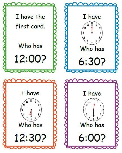 I Have, Who Has Time to the Hour and Half-Hour by Teaching Little Miracles- could change for a grouping activity