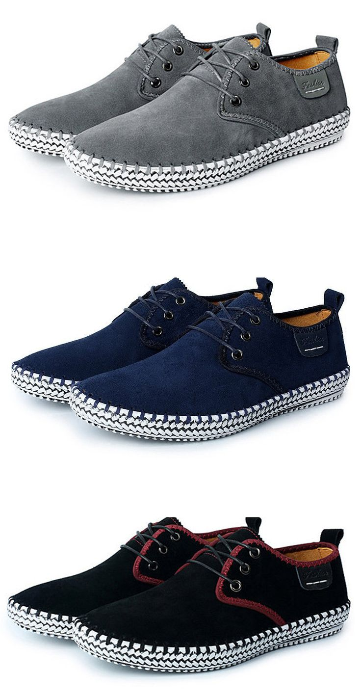 Big Size Men Suede Stitching Soft Sole Outdoor Sport Casual Shoes