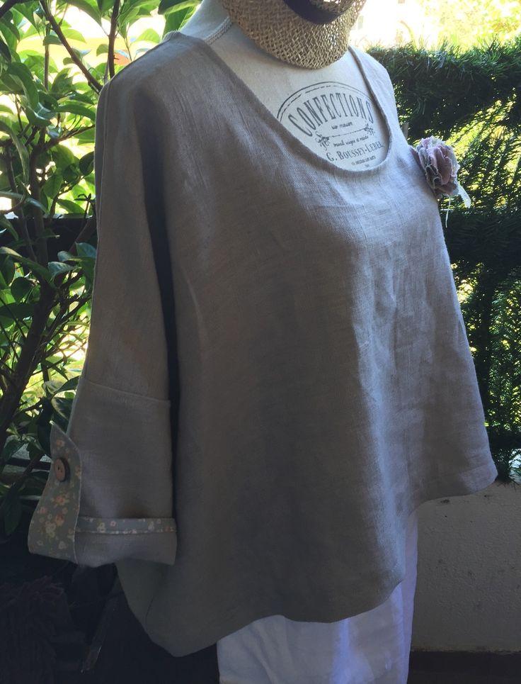 Top manches kimono 100% lin lavé, Tilda : Chemises, blouses par realisa