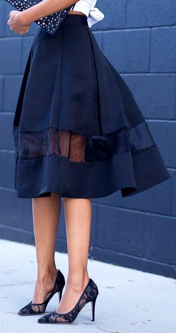 Sheer peek-a-boo -- a fun way to lengthen & update a favorite skirt to the spring 2014 semi-sheer / lace trend.
