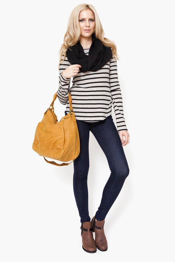 Breton, skinnies, tan ankle boots