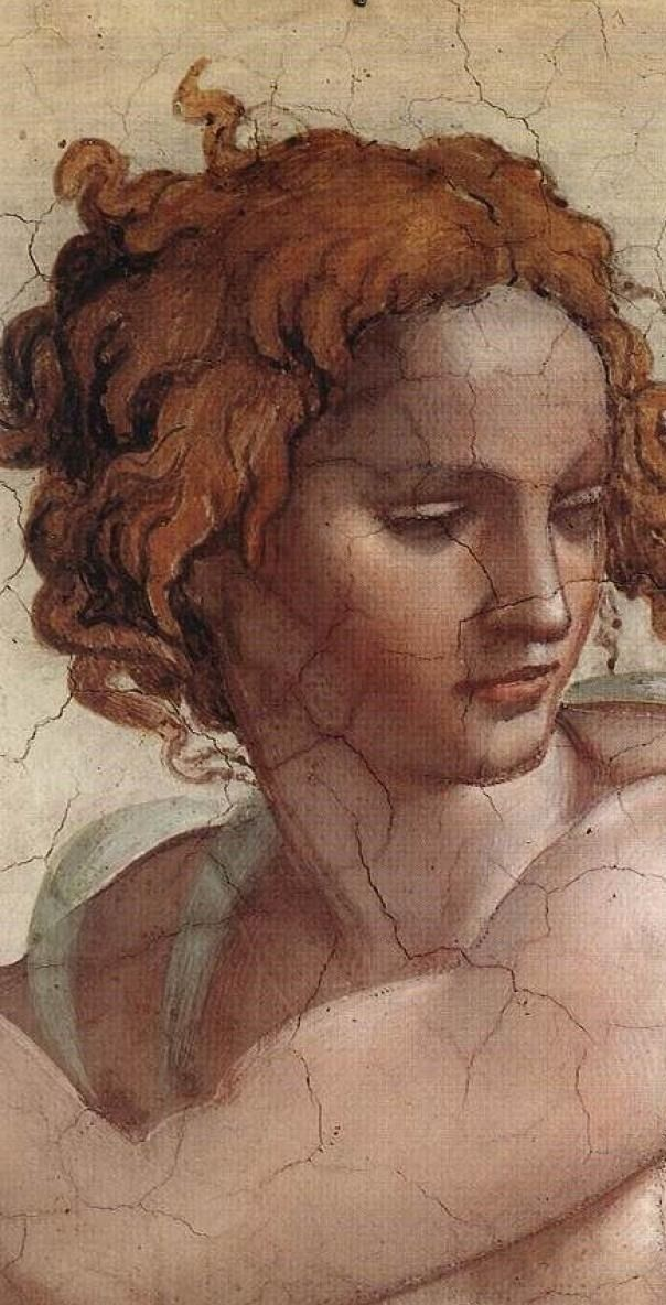 Artemis Dreaming: Detail from The Prophet Ezekiel fresco — 1508-12,  Sistine ChapelMichelangelo