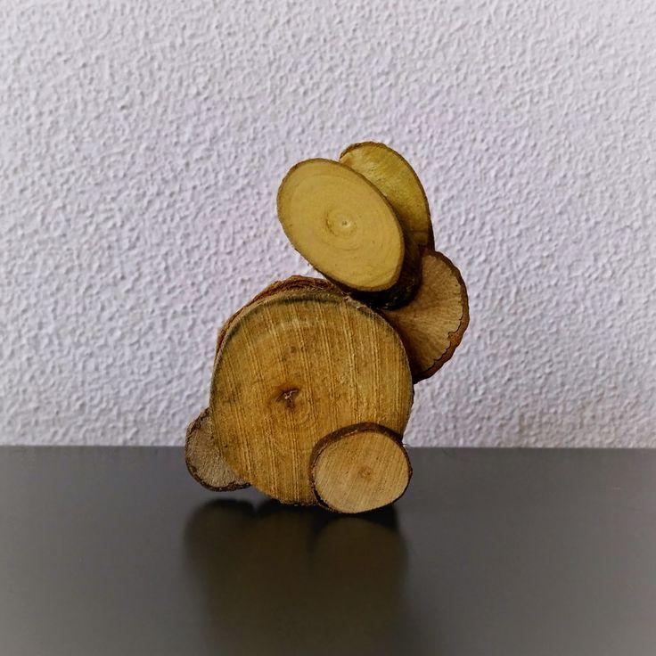Knutselen met houtplakjes: (paas) haas (+ foto werkbeschrijving)