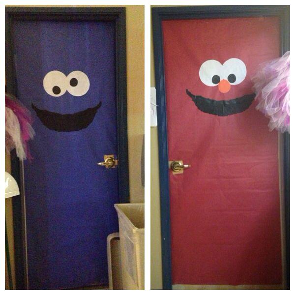 Sesame Street bathroom door decorations!! Cookie Monster and Elmo!