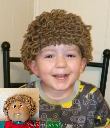 Cabbage Patch Kid Doll Boys Crochet Hat Wig Lt Brown Infant Toddler Adult CPK #SpoiledRottenCotton