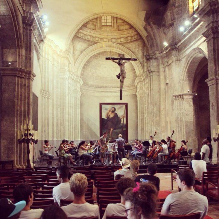 Camerata orchestra Havana. Rehearsing in st Christopher's church old Havana.