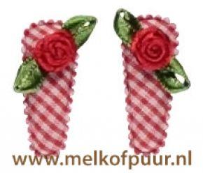 Haarknipjes (2x) rood geruit met rode roosjes 3 cm Prijs: € 2,95