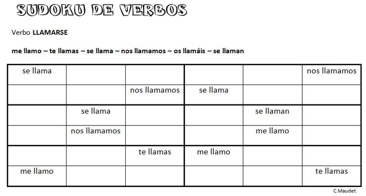 Sudoku de verbos: LLAMARSE (jugando se aprende)