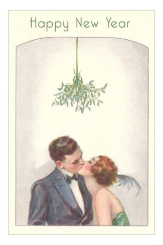 Happy new year, couple kissing under mistletoe vintage print. It's so adorable.