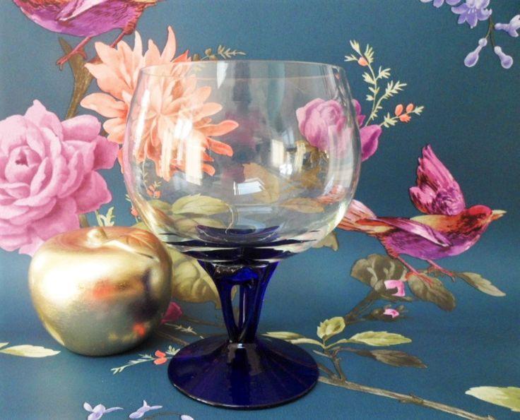 Cobalt Blue Stem Large Wine Glass Triple Strand Interwoven Hand Blown Tulip Stem Vintage Glassware Collectable by BelieveToBeBeautiful on Etsy