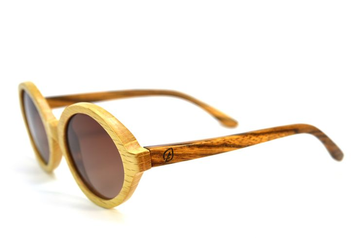 Round Vintage Style Birch and Zebra Wood Sunglasses
