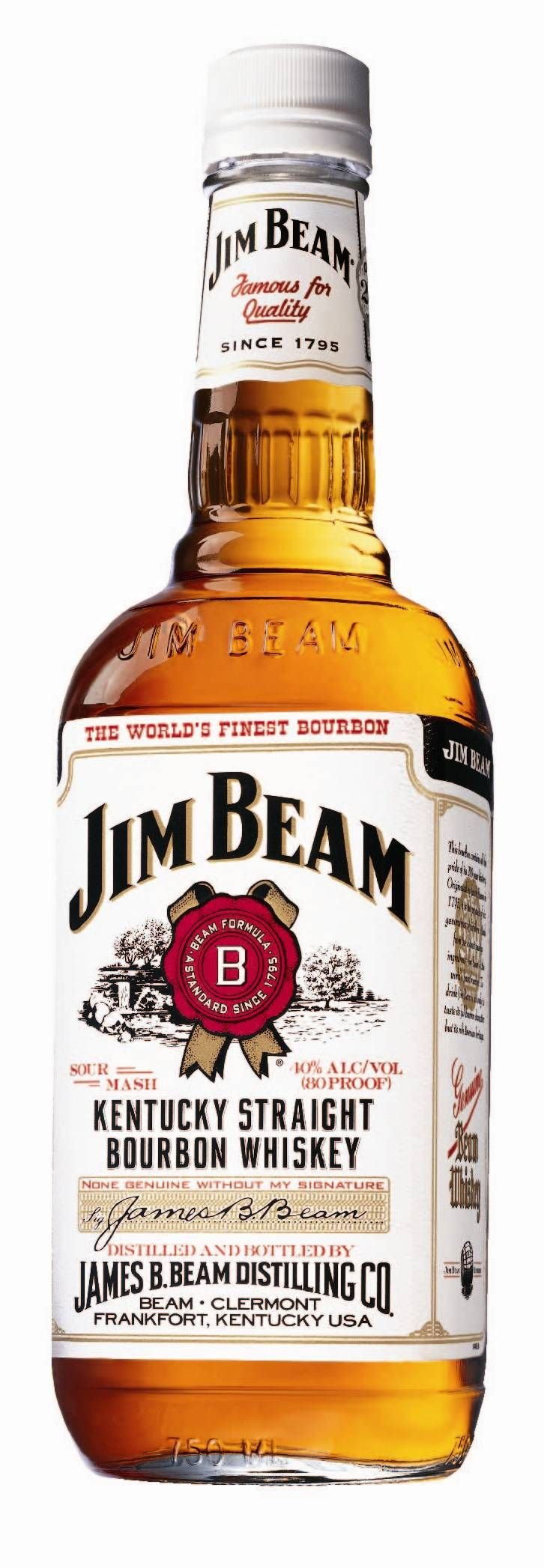 Jim Beam (White Label). Everybody knows this one. 95% of all bourbon is distilled in Kentucky, and half the bourbon distilled in Kentucky is distilled by Beam.