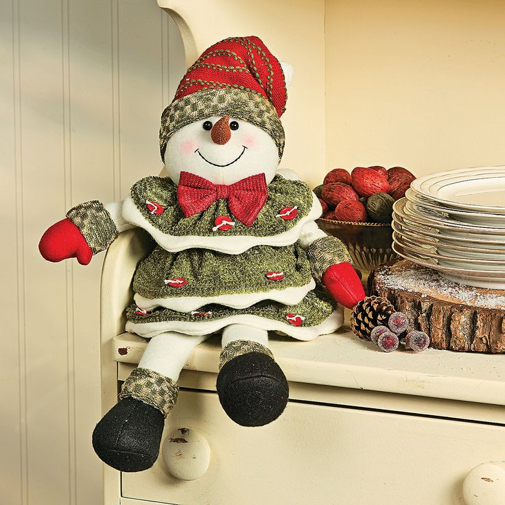 Plush Sitting Button Snowman - TerrysVillage.com..great xmas pics prop