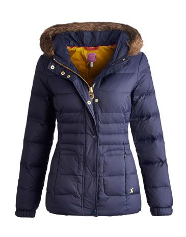 Joules null Womens Padded Jacket, Marine Navy.                     Bring on the cooler weather! Our newest padded jacket has been packed with feather and down to make sure a trip outdoors can be undertaken in style, no matter how cold. The hood will offer extra protection when the wind really kicks up and the zip and popper fastening will help keep you shiver-free.