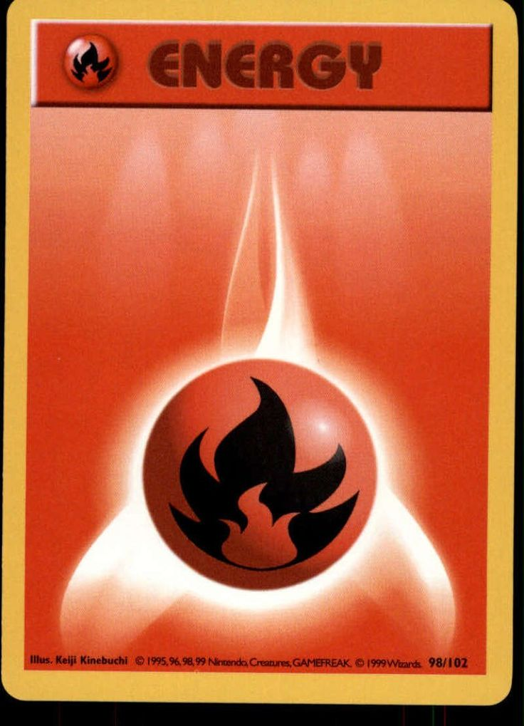 Fire Energy Pokemon 1999 Original Base Set Shadowless Trading Card CCG  Energy Mint/Near Mint * Wow! : FREE Toys and Games