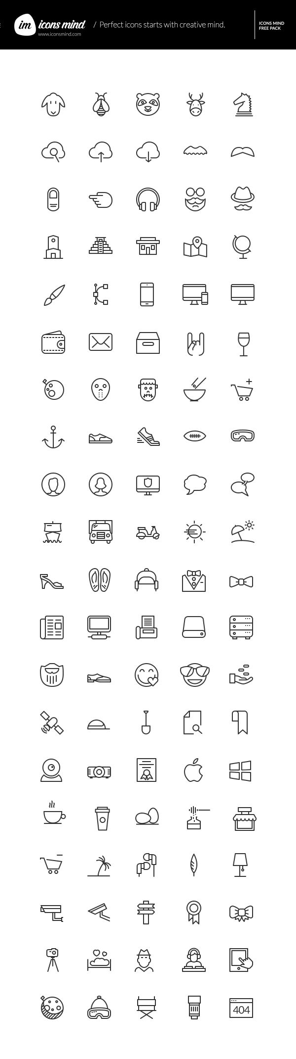 Icons Mind: 100 Free Vector Icons | GraphicBurger