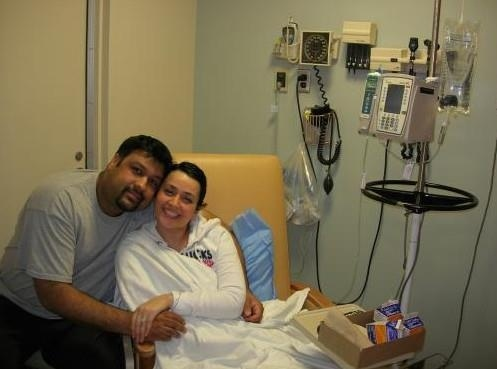 """""""The day he planned to propose, I was diagnosed with leukemia. What's worse, I'm a leukemia nurse and he's an oncologist. Devastated but determined, he knelt beside my hospital bed, as I was receiving my first dose of chemo, and asked me to marry him. """"Are you doing this because you think I'll die?"""" I cried. """"No,"""" he replied, """"I'm doing this because I know you'll live."""" He  told me that together, we will see the other side of this. This was the most beautiful moment of my life."""" -Shannon"""