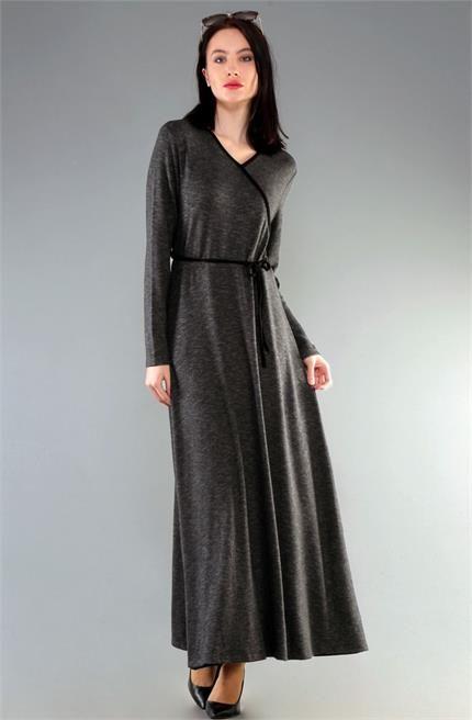 Dide Anvelop Yaka Fırçalı Kumaş Elbise D11042015 Füme