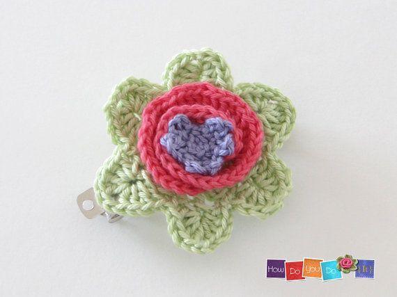 Flower Hair Clip Crochet Hair Clip For Girl by HowDoYouDoIt https://www.etsy.com/listing/215766509/flower-hair-clip-crochet-hair-clip-for?ref=shop_home_feat_1
