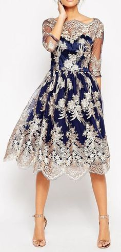 London Premium Lace Midi Prom Dress