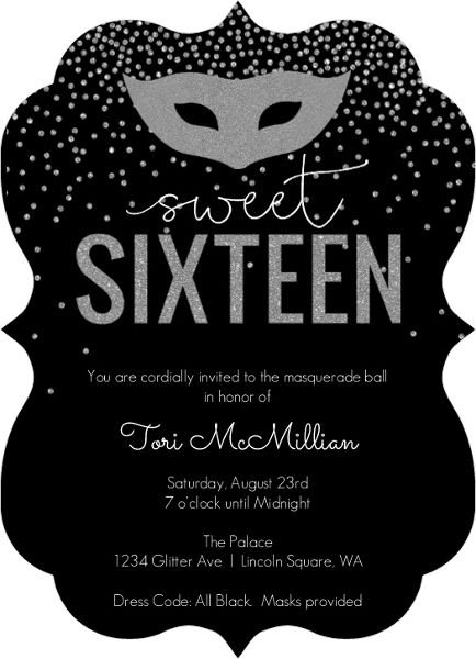 Silver Faux Glitter Masquerade Sweet Sixteen Birthday Invitation