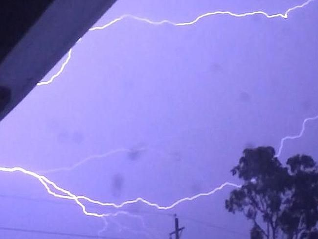 Lightning striking in Sydney during last night's massive storm. Picture: Craig Reitano