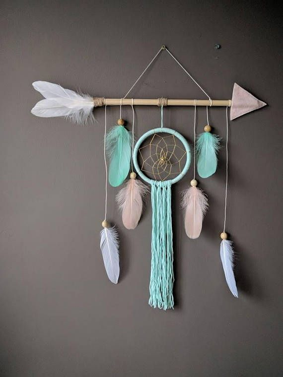 Arrow nursery dream catcher / big baby mobile / big arrow wall hanging …