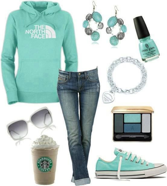 Simple but nice the sweatshirt perfect jewelry perfect nail polish is awesome for the outfit the shoes I hate those shoes yes they match but me I don't like them and the jeans like not long enough it would just stop and I don't like the cuff and the sun glasses are cute but the coffee that is not going to last forever and the make upbis perfect so i give it a 7.6 comment ur rate or what u think