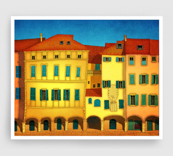 Italian facade - Italy illustration Art Home decor Wall decor Print Poster Drawing Modern Architectural drawing Travel poster Yellow Houses by tubidu on Etsy https://www.etsy.com/listing/202301465/italian-facade-italy-illustration-art