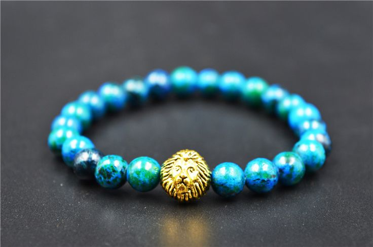 Gold Lion Eye Beads Bracelets Rope Chain Natural Stone Volcanic