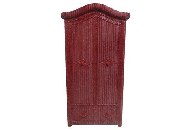 Red Wicker Armoire | Antique furniture, Wicker, Armoire