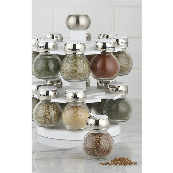 Revolving Spice Rack with 16 Jars in Top Kitchen Prep | Crate and Barrel