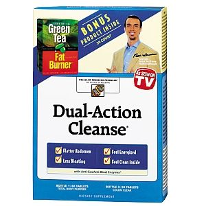 Applied Nutrition Dual Action Cleanse with Green Tea Fat Burner Bonus: As Seen on TV, the best selling cleanse Dual-Action Cleanse, with the Total Body Purifier and Colon Clear. Millions of people have already benefited from a powerful message seen on TV across the country. The message is simple. You can have a flatter abdomen, less bloating, feel energized and feel clean and light inside. Dual-Action Cleanse is a two-part program combining more than 50 botanical ingredients. Price: $17.71