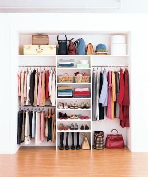 **like the lighting idea & using the corners** Real Simple home magazine gives tips on how to make a small closet appear larger.
