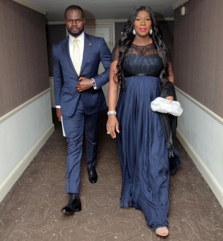 Stephanie Okereke-Linus was invited to Buckingham palace to meet with the queen of England; obviously her hubby had to tag along.. Pictured is the couple an