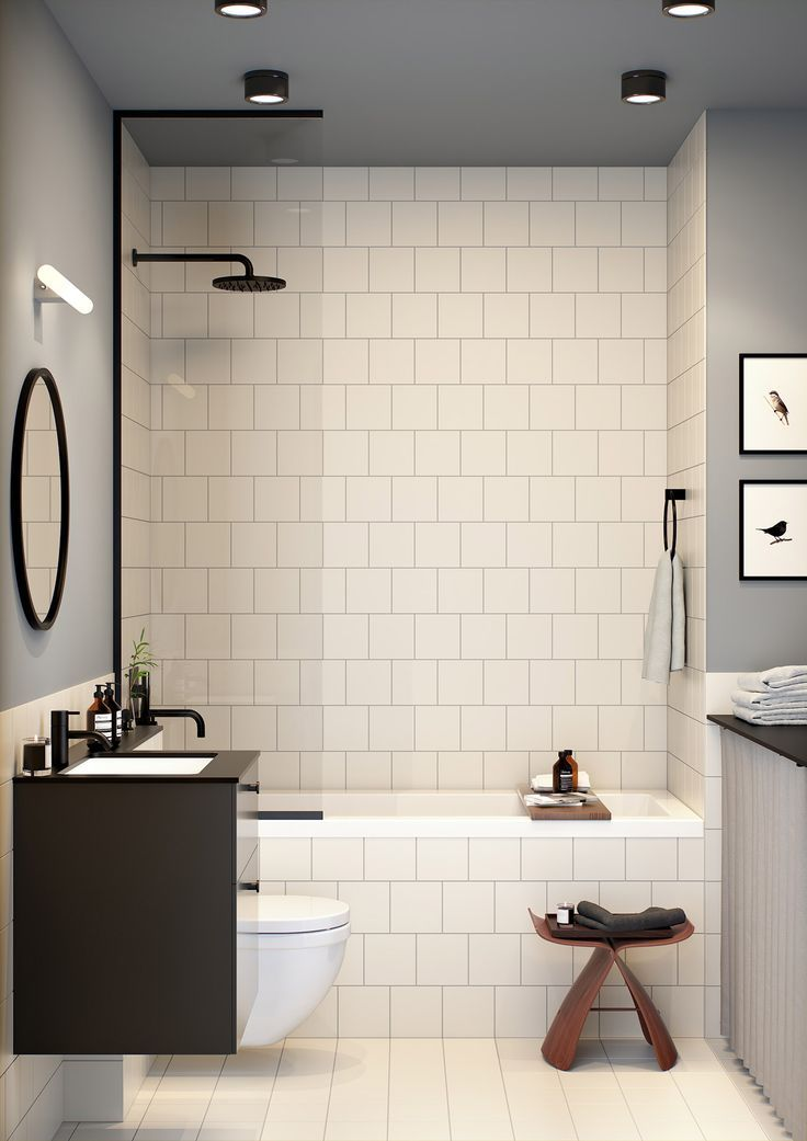 pinned by everythingbegins.com, the home of affordable fine art and art inspired decor for the home.  Simple but beautiful bathroom. White small square tiles with dark grout, black tapware and a lovely soft grey paint.