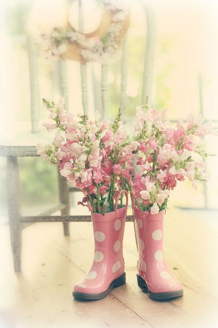 Spring Moments | tall pink florals in pink polka dot boots ...charming  #flowers #floral